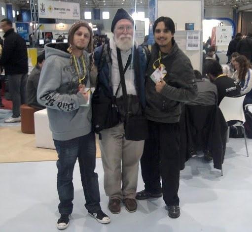 Eu, Jon Maddog e Felipe Moura em alguma edição do FISL