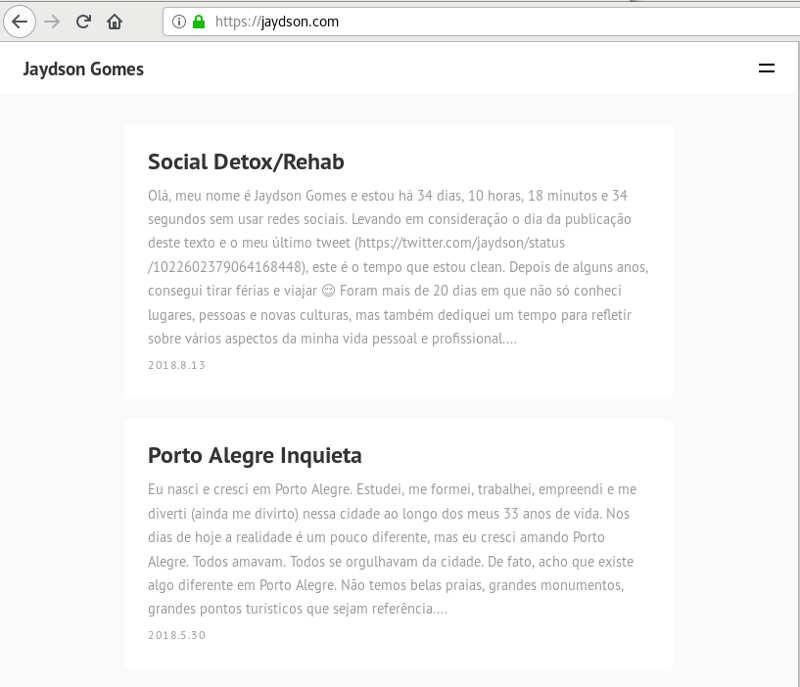 Screenshot da home do blog